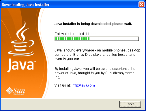 Downloading Java installer window - it will disappear automatically
