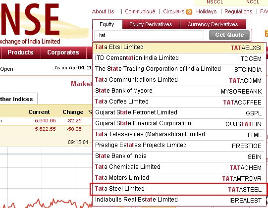 Typing stock's name into NSEIndia.com's search box
