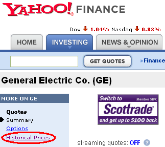 Download free data from Yahoo! Finance