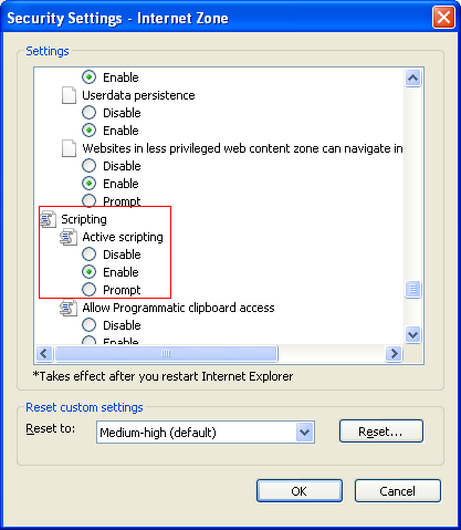 enabling active scripting / java scripts in internet explorer