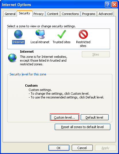 internet explorer security settings window