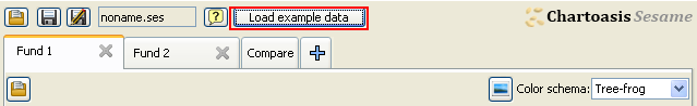 for trial purposes use Load example data button on the top of the application